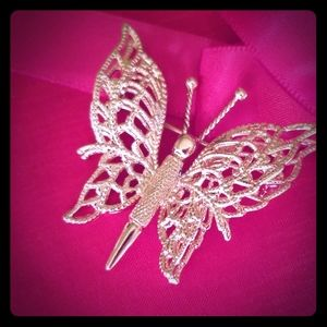MONET Adorable gold tone butterfly lapel pin